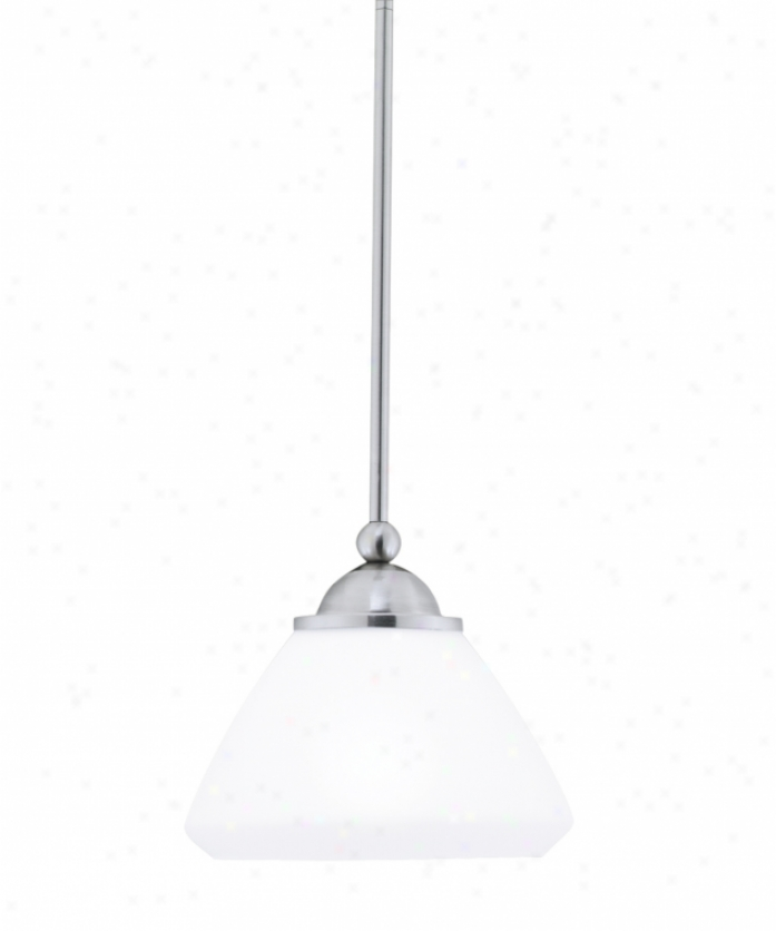 Thomas Lighting M2562-78 Cosmopolitan 1 Light Mini Pendant In Brushed Nickel By the side of Satin Cased Opal Glass Glass
