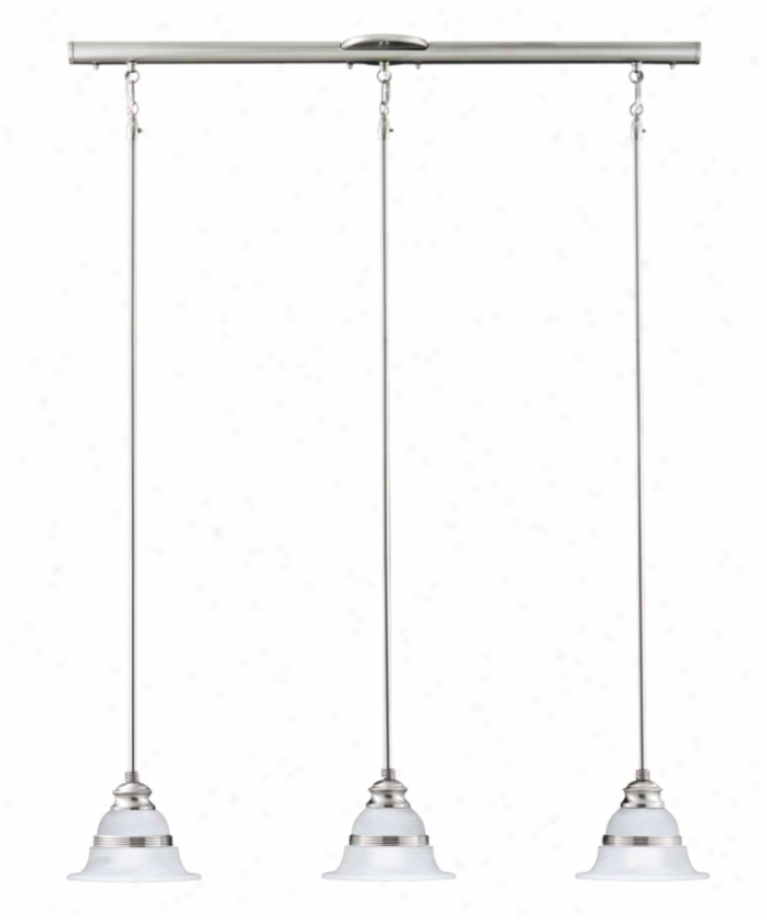 Thomas Lighting M257378 Syracuse 3 Light Island Light In Brushed Nickel With Etched Alabaster Style Glass Glass