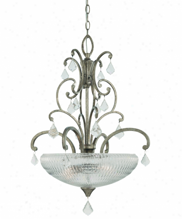 Thomas Lighting M2680-93 Trevi 3 iLght Ceiling Pendant In Roma Silver With Mouth-blown Clear Faceted Glass Attending Polished Glass Drops Glass