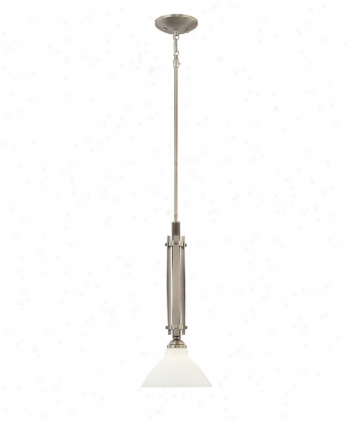 Thomas Lighting M2647-41 Regatta 1 Light Mini Pendant In Satin Pewter With Bronze Appointments With White Cased Glass