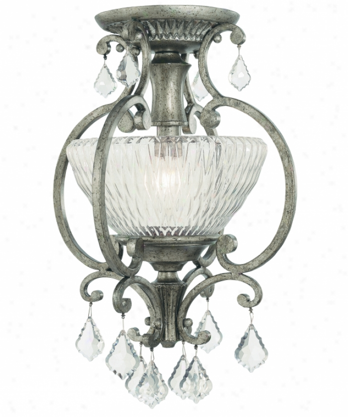Thomas Liguting M2711-93 Trevi 1 Light Semi Flush Mount In Roma Gentle With Mouth-blown Clear Faceted Glass With Pklished Glass Drops Glass