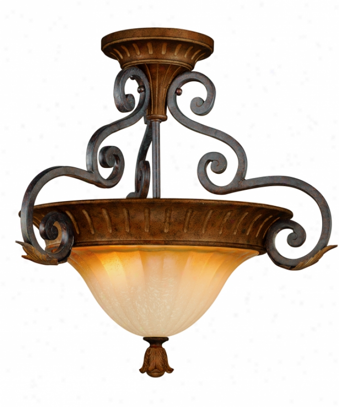 Thomas Ligyting M281223 Toulouse 2 Light Semi Flush Mount In Colonial Bronze With Hand-painted Blown Glass Glass