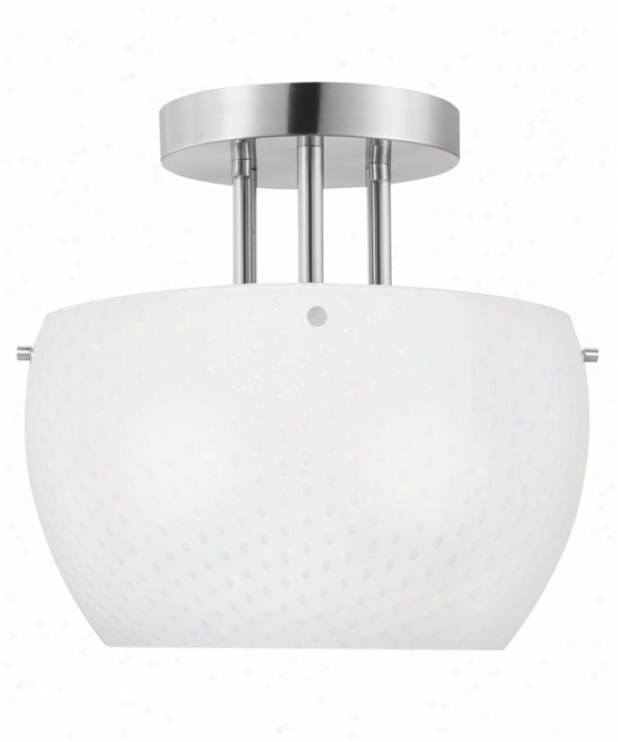 Thomas Lighting M290778 Vado 2 Light SemiF lsh Mount In Brushed Nickel With White Triple Cased Blown Bubble Glass Glass