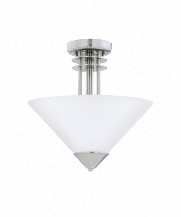 Thomas Lighting M2957-78 Cosmopolitan 3 Light Semi Flush Mount In Brushed Nickel Witn Satin Cased Opal Glass Glass