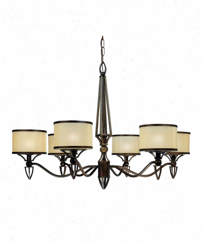 Thomas Lighting M313463 Longitude 6 Light Single Tier Chandelier In Painted Bronze With Hand-painted Parchment Glass