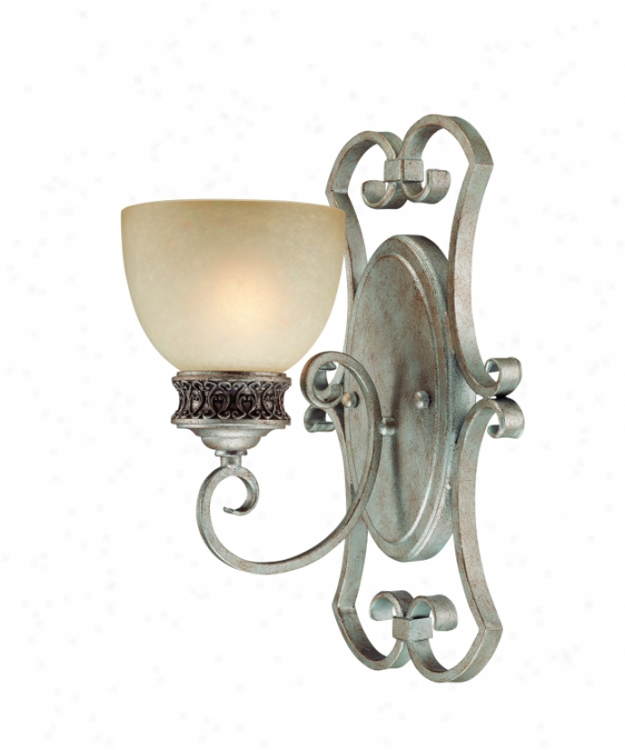 Thomas Lighting M4281-72 Eva 1 Liggt Walll Sconce In Moonlight Silver With Hand-painted Champagne Glass Glass