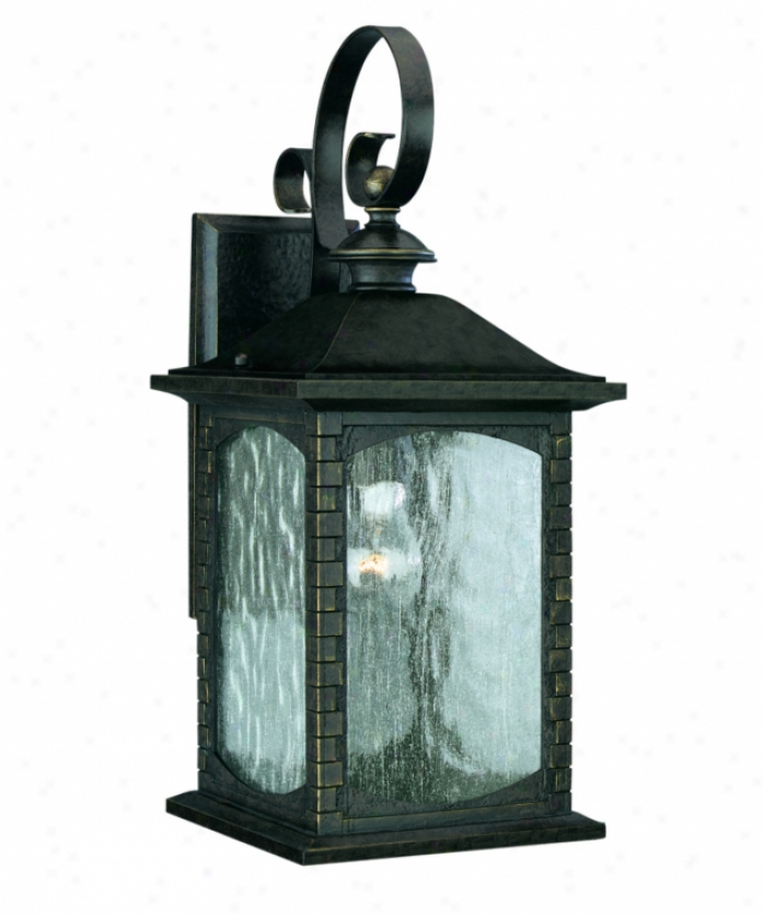 Thomas Lighting M523640 Tudor Row 1 Light Outdoor Wall Light In Burnished Umber With Seedy Water Glass Panels Glass