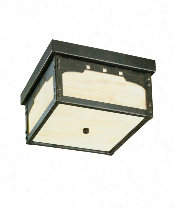 Thomas Lighting M542240 Mission Squarre 2 Light Outdoor Flush Mount In Colonial Bronze Wity Etched Ivory Painted Glass Glass