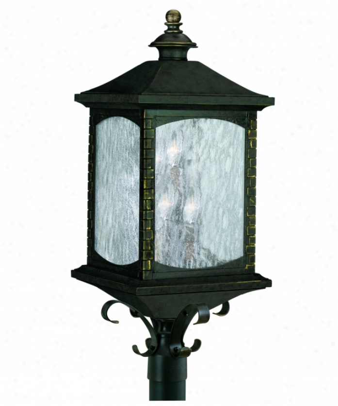 Thomas Ligh5ing M562140 Tudor Row 6 Light Outdoor Post Lamp In Burnished Umber With Seedy Water Glass Panels Glass