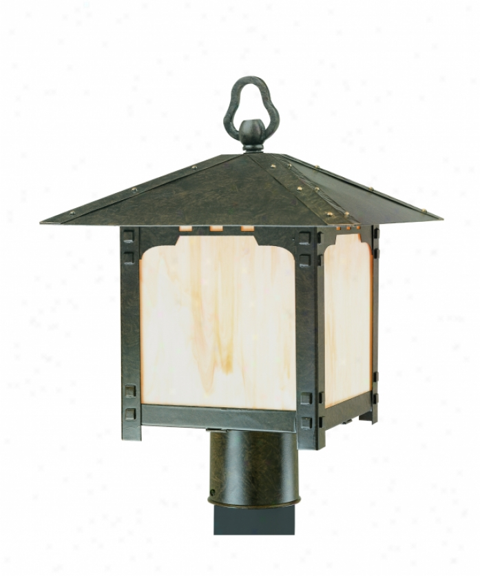 Thomas Lighting M565240 Mission Square 1 Light Outdoor Post Lamp In Colonial Bronze With Etched Ivody Painted Glass Glass