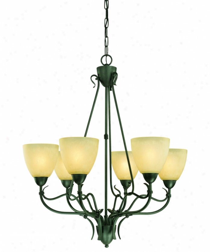 Thomas Lighting Pl881763l Limestone Energy Smart 6 Light Single Tier Chandelier In Painted Bronze With Warmly Aged Hand-painted Glass Glass