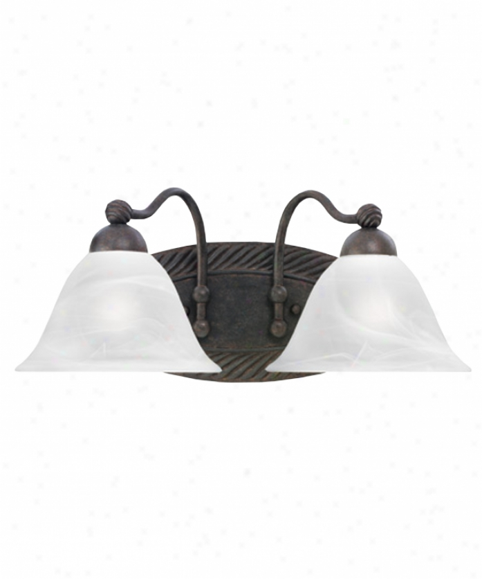 Thomas Lighting Sl732223 Cambridge 2 Light Bath Vanity Light In Colonial Bronze With Alabaster Diction Glass Glass