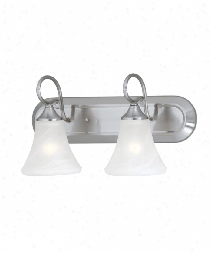 Thomas Lighting Sl744278 Elipse 2 Light Bath Vanity Light In Brushed Nickel With Swirl Alabaster Style Glass Glass