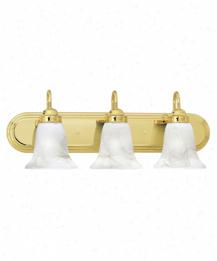 Thomas Lighting Sl75831 Homestead 3 Light Bath Vanity Light In Polished Brass With Swirl Alabaster Style Glasss Glass