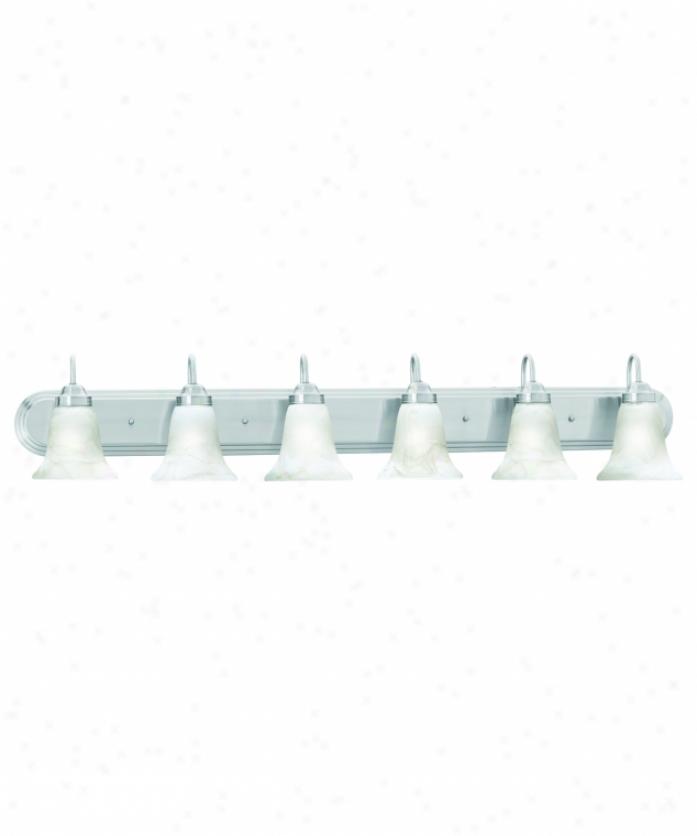 Thomas Lighting Sl758678 Homestead 6 Light Bath Vanity Light In Brushed Nickel With Swirl Alabaster Style Glass Glass