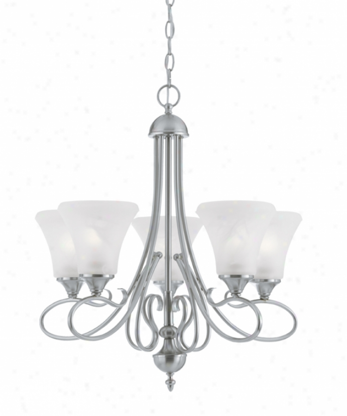 Thomas Lighting Sl811578 Elipse 5 Light Single Tier Chandelier In Brushed Nickel With Swirl Alabaster Style Glass Glass