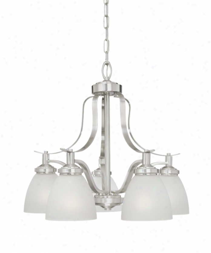 Thomas Lighting Sl813578 Hampshire 5 Light Single Tier Chandelier In Brushed Nickel With Etched Clear Glass Glass