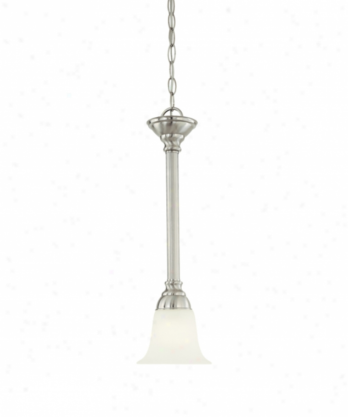 Thomas Lighting Sl820678 Riva 1 Light Mini Pendant In Brushed Nickel With Etched Swirl Alabadter Style Glass Glass