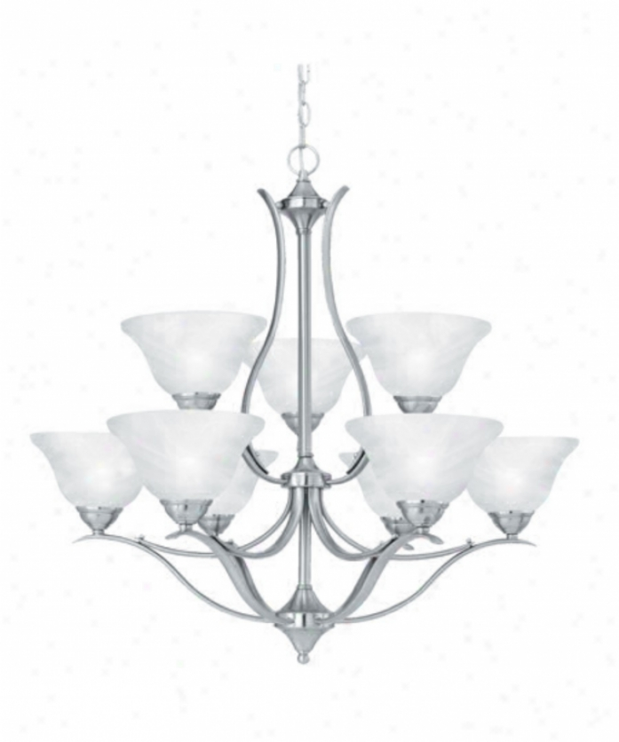 Thomas Lighting Sl863978 Prestige 9 Bright Two Tier Chandelier In Brushed Nickel With Alabaster Style Glass Glass