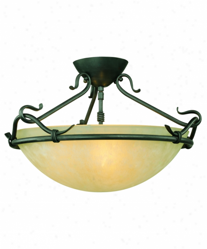 Thomas Lighting Sl866463 Limestone 3 Light Semi Flush Mount In Painted Bronze With Warmly Old Hand-painted Glass Glass