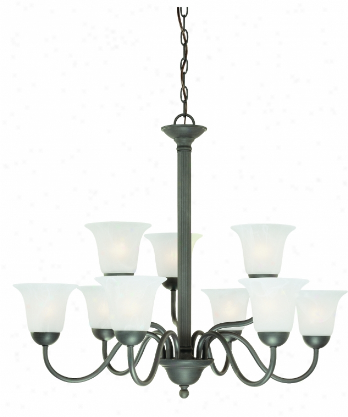 Thomas Lighting Sl881363 Riva 9 Light Two Tier Chandelier In Painted Bronze With Etched Swirl Alabasted Style Glass Glass