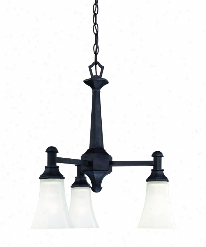 Thomas Lighting Sl8855-63 Kaden 3 Light Mini Chandelier In Painted Bronze With Faceted Ettched Glass Glass