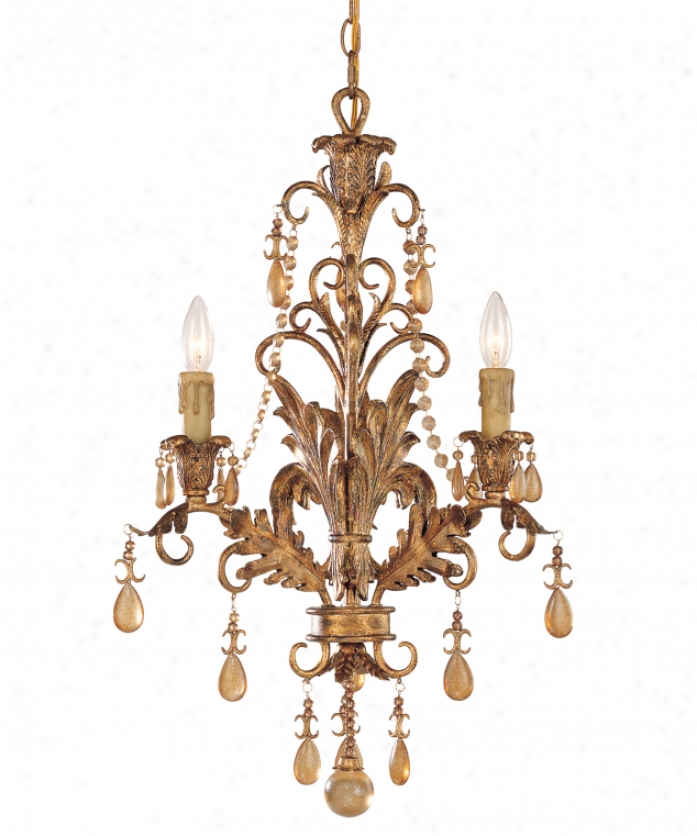 Tracy Porter Collection 1-1123-3-300 Sovereign Splender 3 Light Mini Chandelier In Vintage Gold With Distressed Amber Crystal