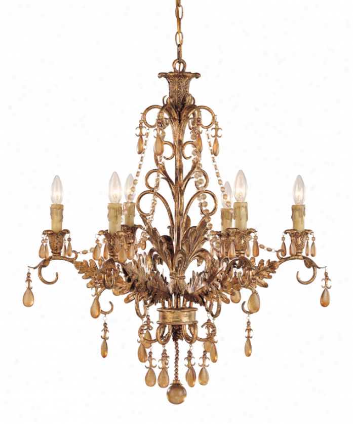 Tracy Door-keeper Collection 1-1126-6-300 Sovereign Splender 6 Light Single Row Candelier In Vintage Gold Through  Distressed Amber Crystal