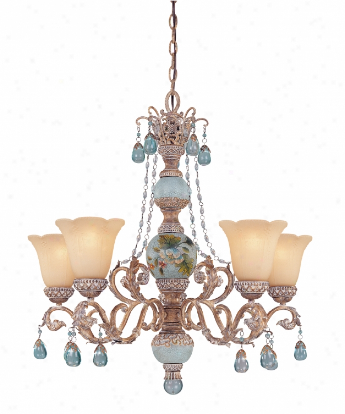 Tracy Porter Collection 1-1170-5-121 Cerulean 5 Light Single Tier Chandelier In Cottonwood Whandpainted Column With Carved Cream Bubble Glassaqua Crystal