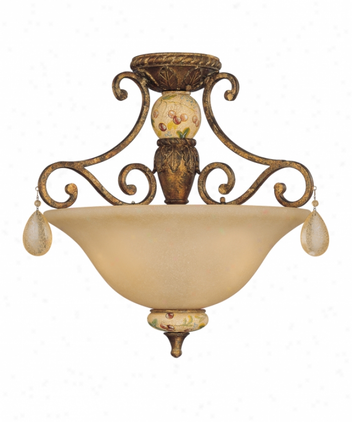 Tracy Door-keeper Collection 6-9927-3-300 Persimmon 3 Light Semi Flush Mount In Vintage Gold With Hand Painted Accents With Cream Scavo Glass Glssdistrdssed Crystal