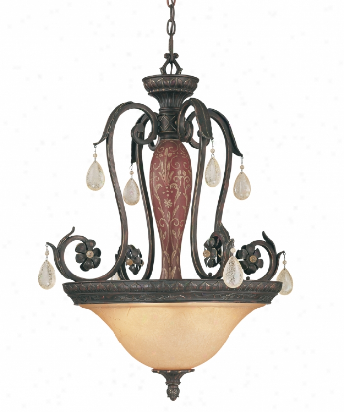 Tracy Porter Collection 7-1219-4-52 Morango 4 Light Ceiling Pendant In Bark & Gold Whand Painted Round pillar With Carvex Venetian Glass Glassdistressed Crystal Cryt