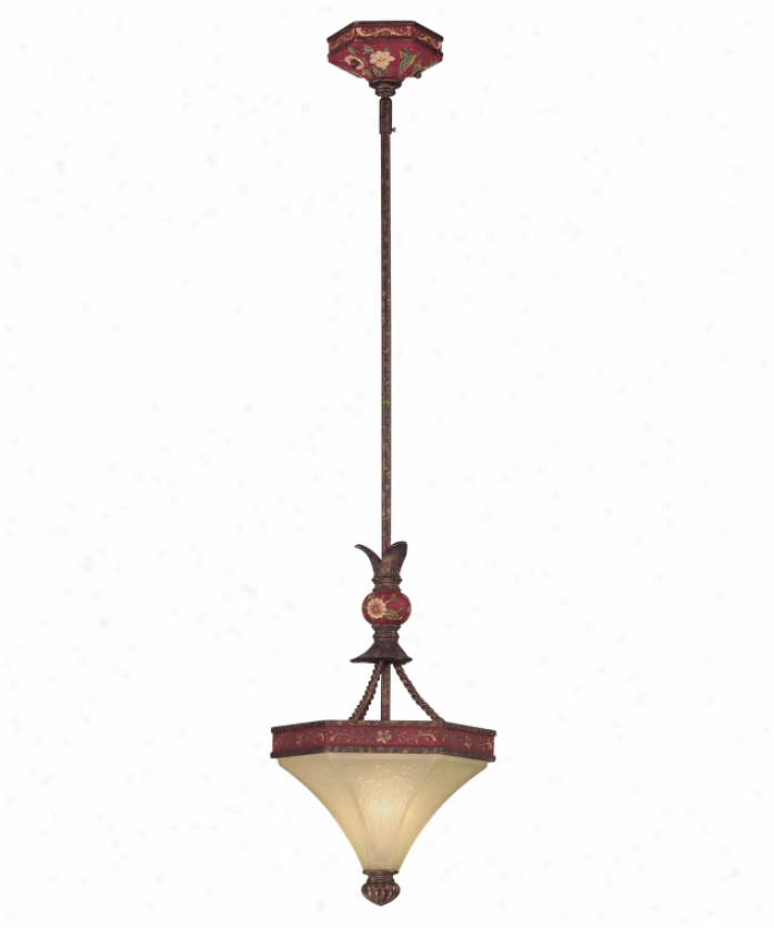 Tracy Porter Collection 7-1738-1-56 Garnet Tapestry 1 Light Ceiling Pendant In New Tortoise Shell Whand Painted Accents With Carved Umber Glass