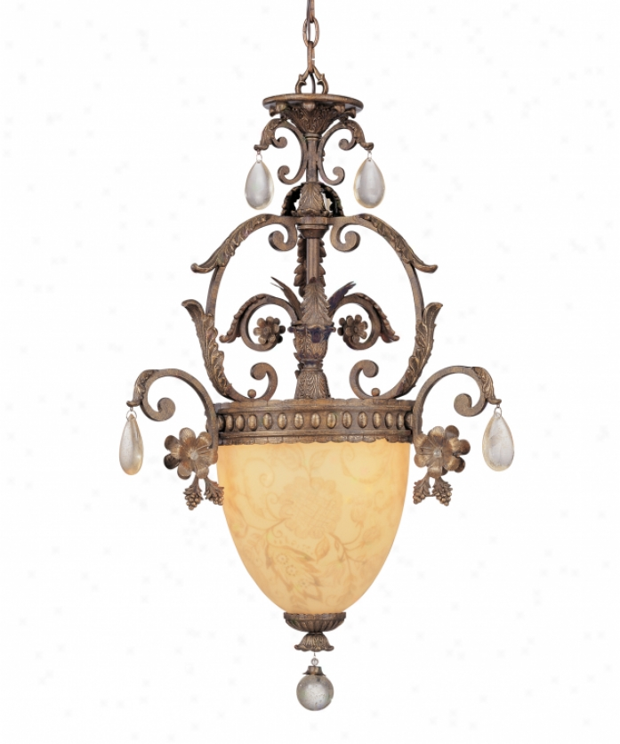 Tracy Porter Colletion 7-512-3-30 Rosa Regalis 3 Light Ceiling Pendant In Umbrian Gold With Reverse Hand Painted Glassdistressed Crystal Crystal