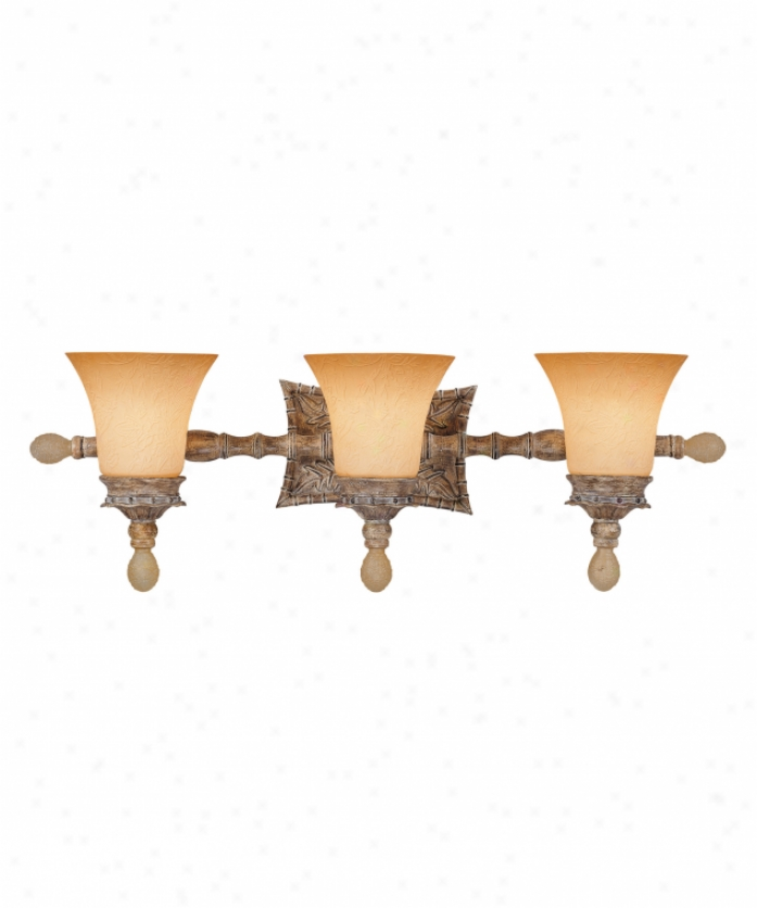 Tracy Porter Collection 8-1066-3-121 Celadon Oak 3 Light Bath Vanity Light In Cottonwood Finish With Carved Scavo Glaqs Glass