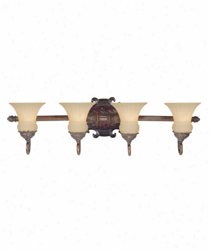 Tracy Porter Collection 8-1873-4-64 Sangria 4 Light Bath Vanity Light In Tobacco With Hand Painted Accents With Ribbed Cream Scabo Glass Glass