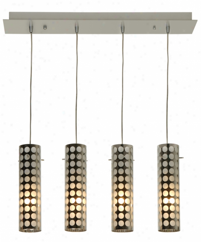Trend Lighting Bp5020-4 Eternal 4 Light Ceiling Pendant In Metallic Silver With Chrome Glass With Frosted Accents Glass