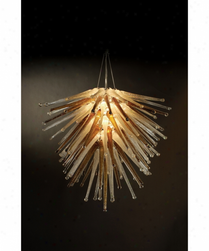 Trend Lighting Tp4937-m Cassini 6 Light Single Tier Chandelier In Polished Chrome With Amber And Clear Icicle Glass