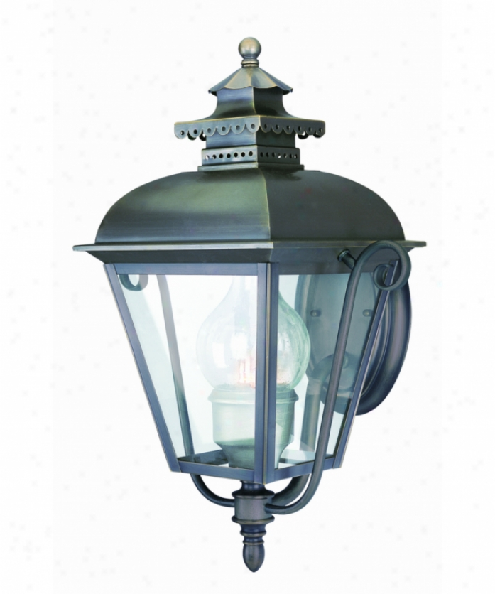 Troy Lighting B1452eb Palace Green 1 Gay Outdoor Wall Light In English Bronze Upon Inside Seeded-outside Clear Glass