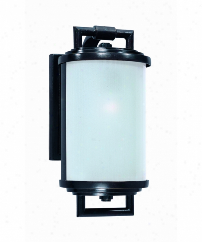 Troy Liighting B1551mbz South Beach 1 Light Outdoor Depart Light In Modern Bronze With Ribbed Acid Etched Glass