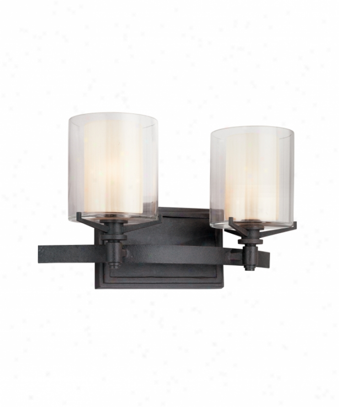 Troy Lighting B1712fr Arcadia 2 Liht Bath Vanity Light In French Iron With Clear Outer - Ribbed Provence Inner Glass