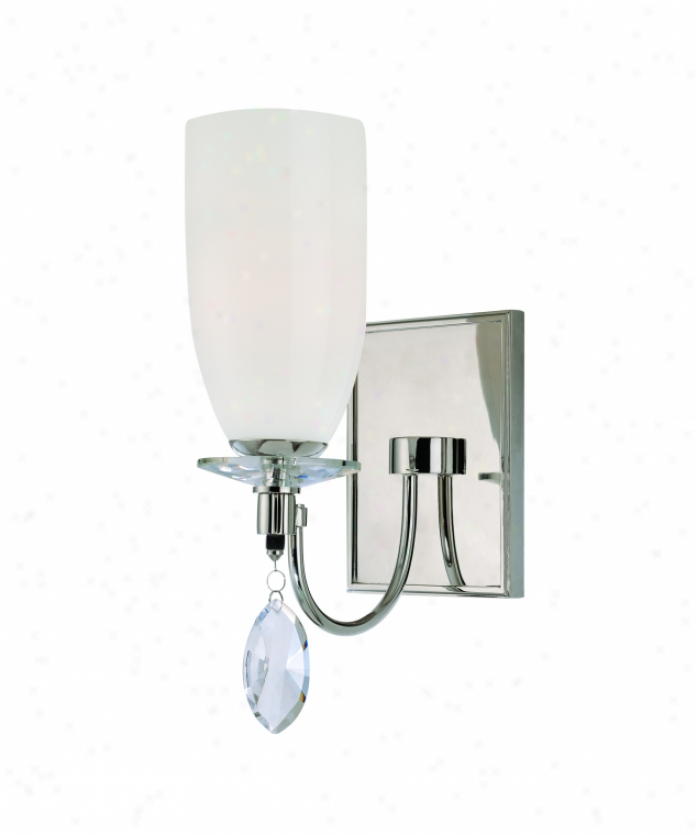 Troy Lighting B2241pn Shelborne 1 Light Wall Sconce In Polished Nickel With Opal White Glass Glassfacered Crystals Crystal