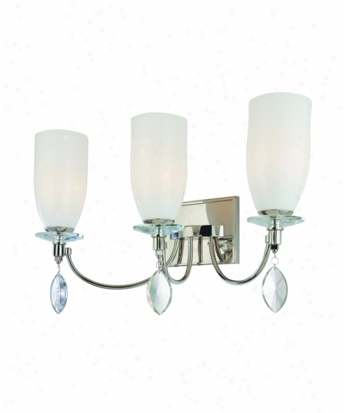 Troy Lighting B2243pn Shelborne 3 Light Bath Vanity Light In Polished Nickel With Opal White Glass Glassfaceted Crystals Crystal