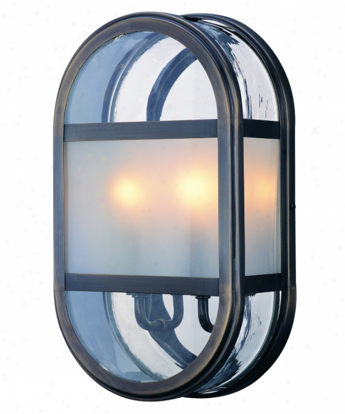 Troy Lighting B2282eb Boulevard 2 Light Outdoor Wall Light In English Bonze With Clear With Frosted Panel Glass Glass