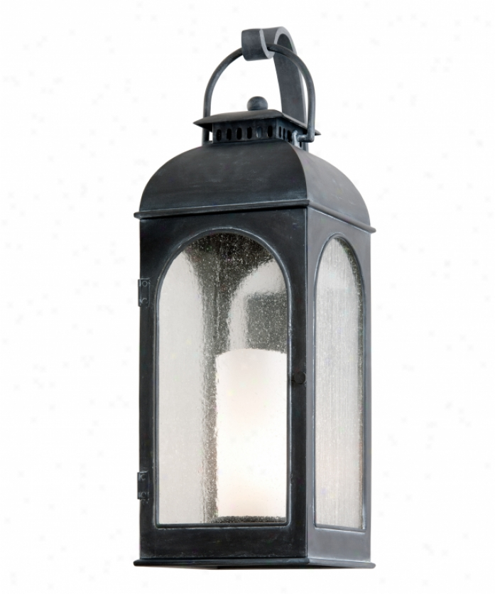Troy Lighting B3283 Derby 1 Light Outdoor Wall Light In Antique Iron With Clear Seeded With Antique Ivory Candle Glass
