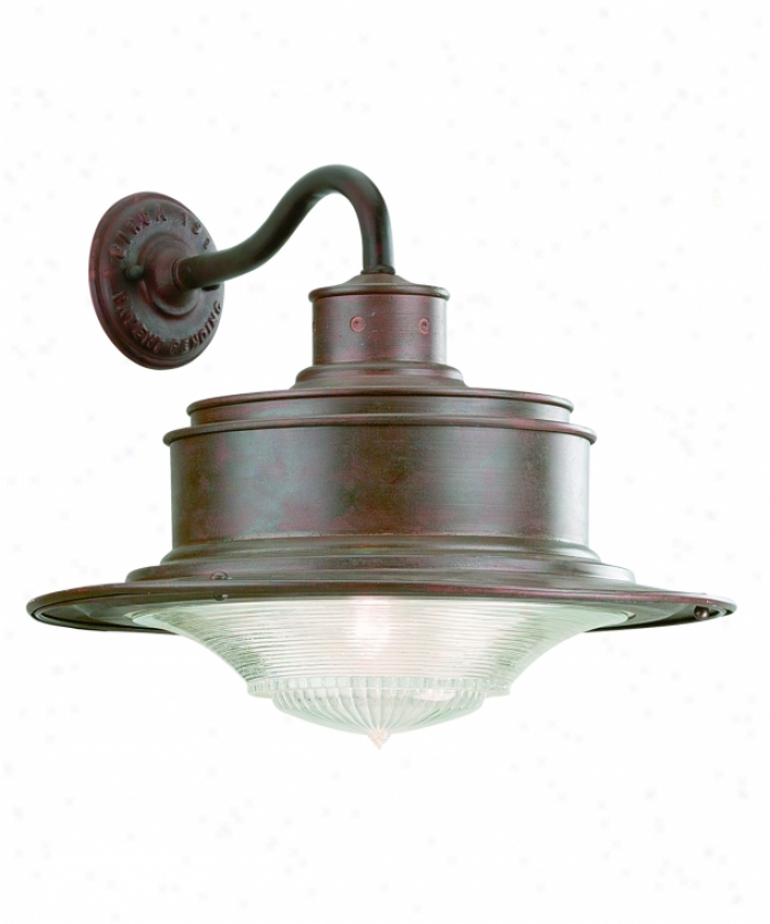Troy Lighting B9392og South Street 1 Light Outdoor Wall Light In Former Gaalvanized With Antique Pressed Prismatic Glass