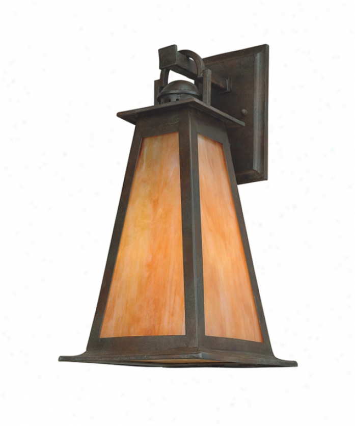 Troy Lighting B9883sbz Lucerne 1 Aspect Outdoor Wall Light In Statuary Bronze With Iridescent Honey Glass