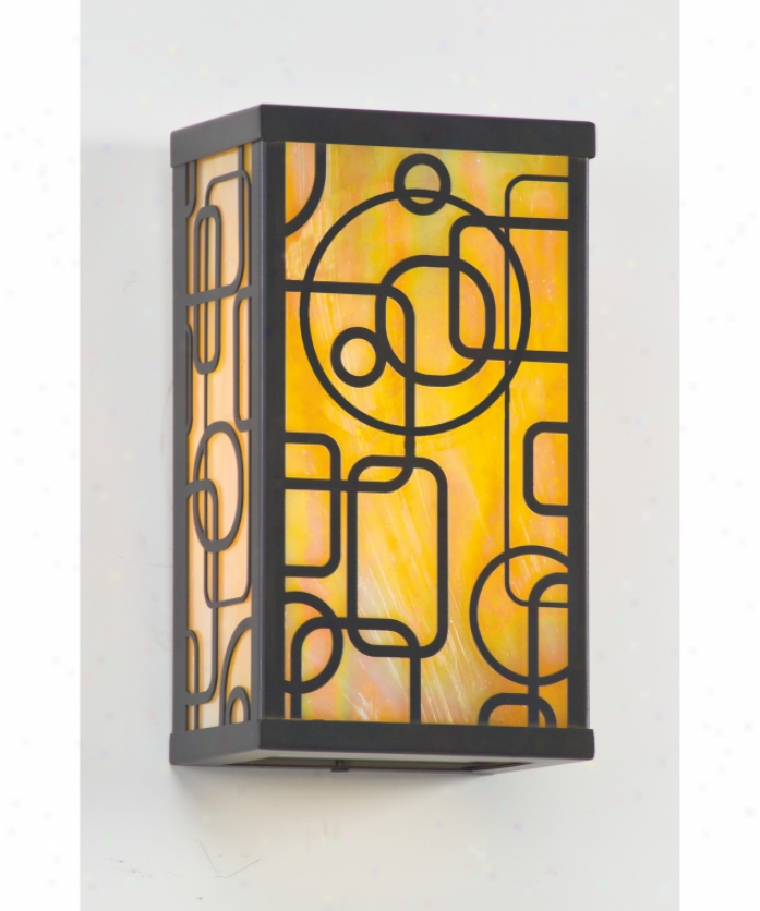 Troy Lighting Bih6082arb Simpatico Conundrum 1 Light Outdoor Wall Light In Architectural Bronze With Iridescent Honey Glass