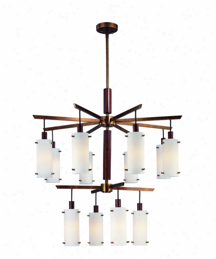 Troy Lighting F2347agb Silver Lake 12 Light Two Tier Chandelier In Aged Assurance With Wood Accents With Etched Opal Glass With Opal Glass Diffuser Glass
