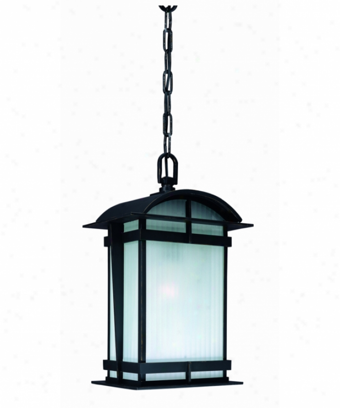 Troy Lighting Ff1568gbz Glasgow Energy Smart 1 Bright Outdoor Hanging Lantern In Glasgow Bronze With Acid-etched Ribbed Glass