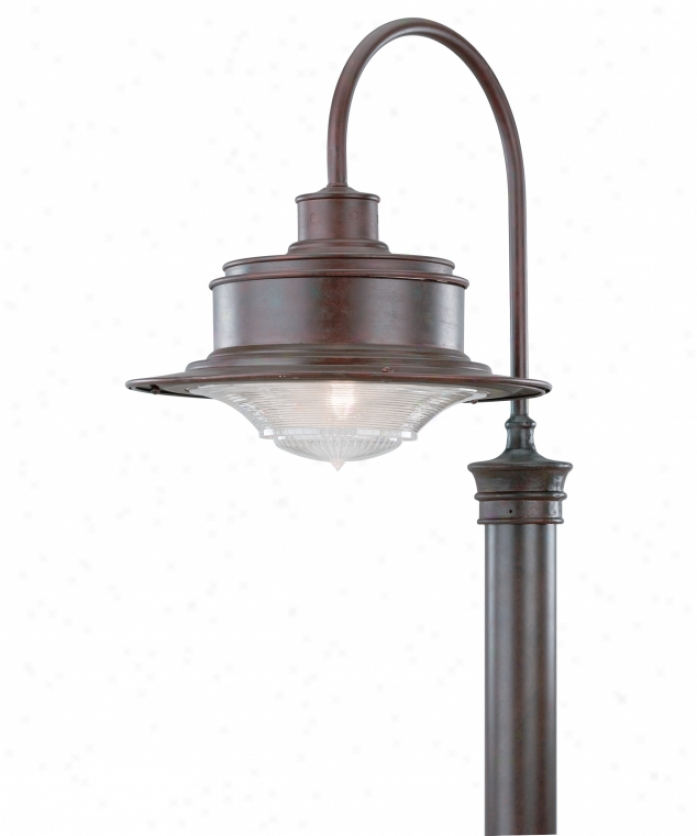 Troy Lighting P9394og South Street 1 Easy  Outdoor Post Lamp In Old Galvani2ed With Antique Pressed Prismatic Glass